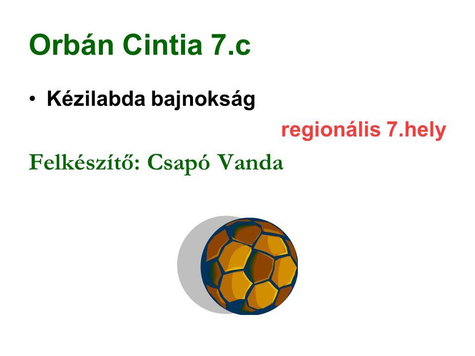 Orbán Cintia 7.c Felkészítő: Csapó Vanda Kézilabda bajnokság