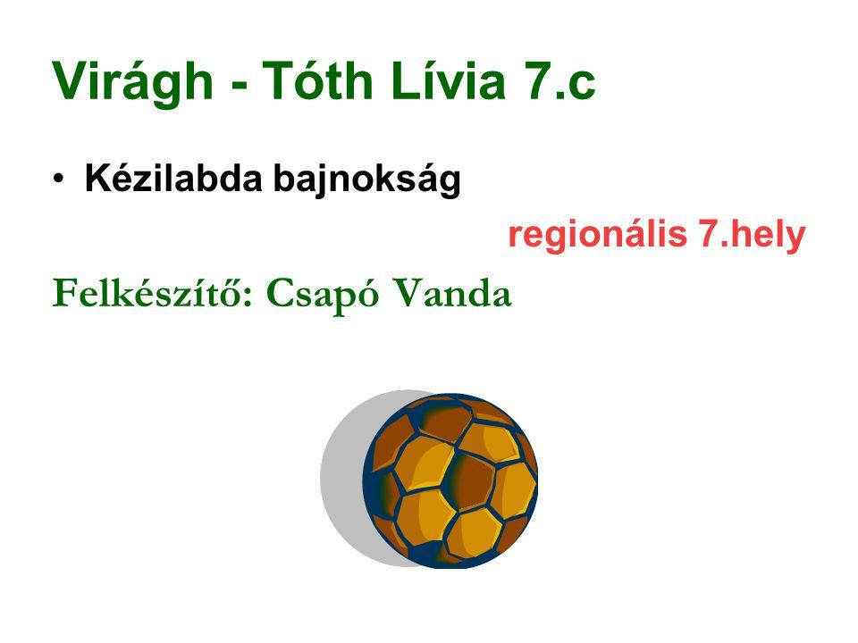 Virágh - Tóth Lívia 7.c Felkészítő: Csapó Vanda Kézilabda bajnokság