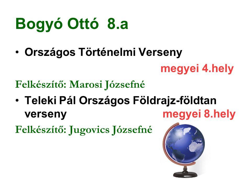 Bogyó Ottó 8.a Országos Történelmi Verseny megyei 4.hely