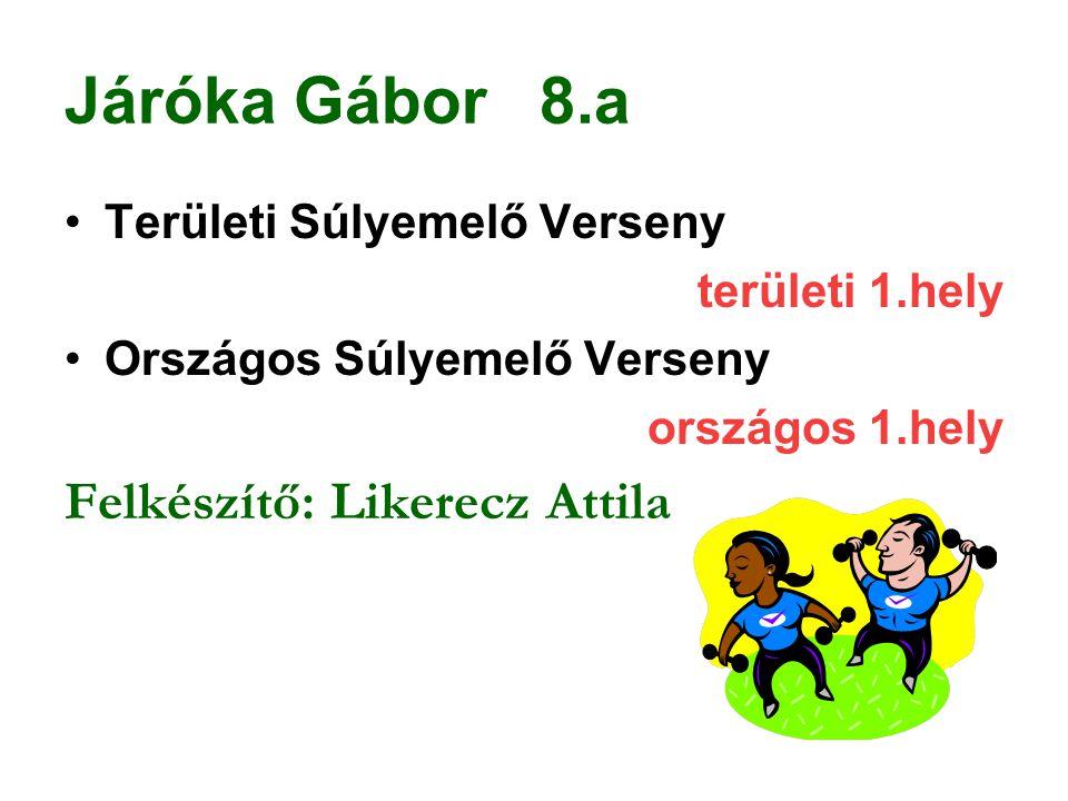 Járóka Gábor 8.a Felkészítő: Likerecz Attila