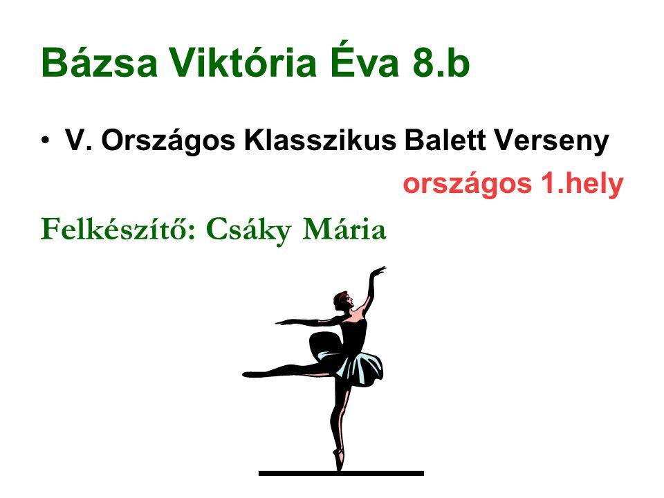 Bázsa Viktória Éva 8.b Felkészítő: Csáky Mária