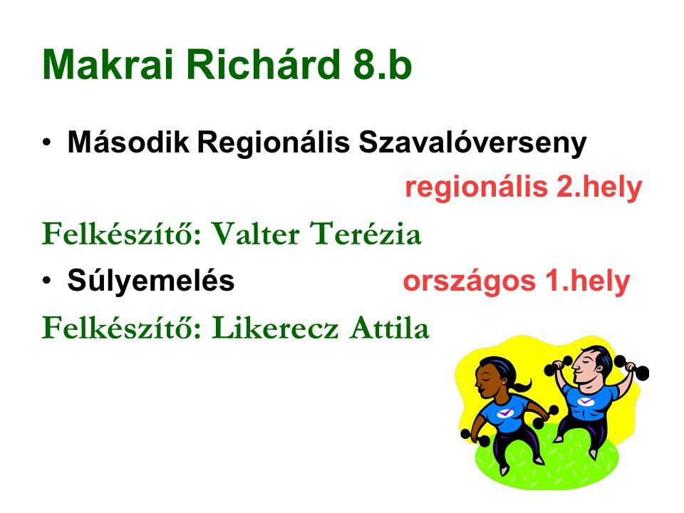 Makrai Richárd 8.b Felkészítő: Valter Terézia
