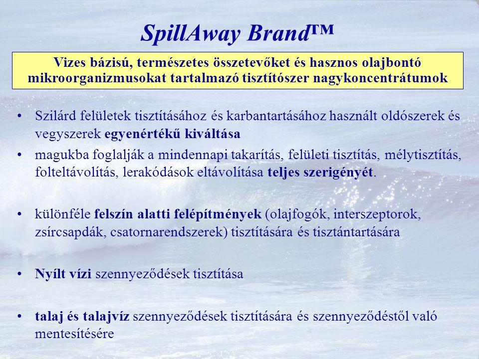 SpillAway Brand™ Vizes bázisú, természetes összetevőket és hasznos olajbontó mikroorganizmusokat tartalmazó tisztítószer nagykoncentrátumok.