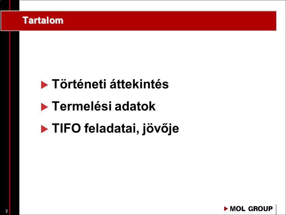 Tartalom Történeti áttekintés Termelési adatok TIFO feladatai, jövője
