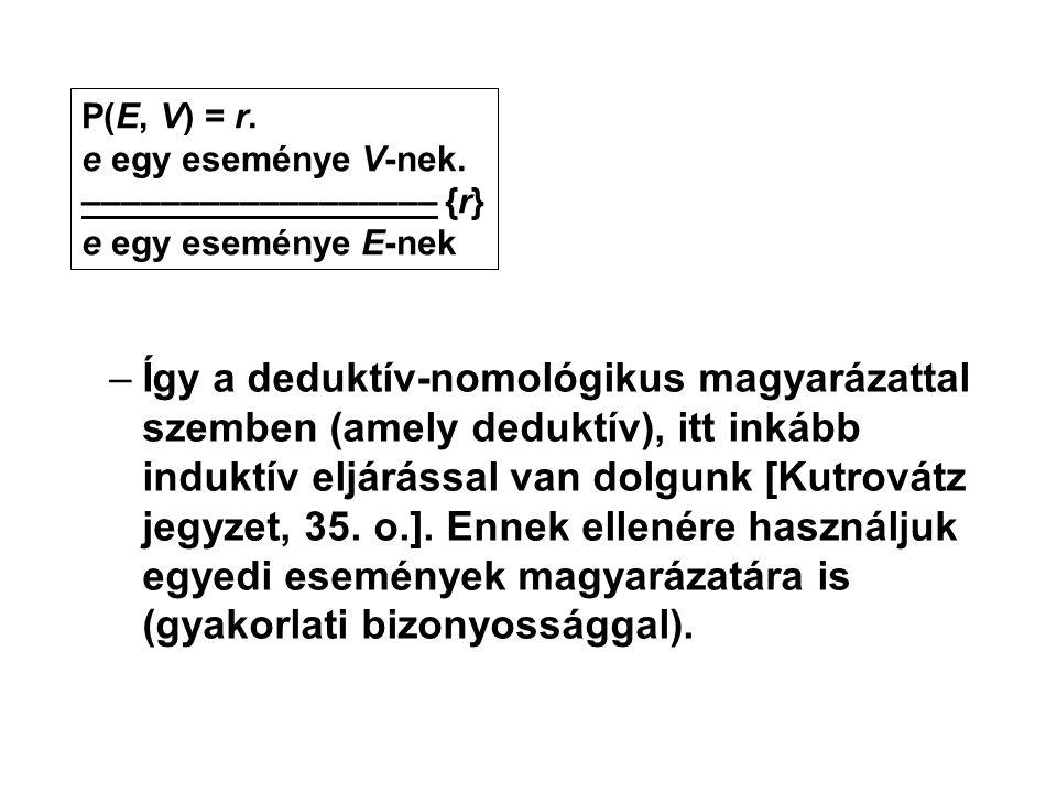 P(E, V) = r. e egy eseménye V-nek. –––––––––––––––––– {r} e egy eseménye E-nek.