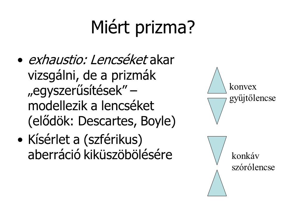 """Miért prizma exhaustio: Lencséket akar vizsgálni, de a prizmák """"egyszerűsítések – modellezik a lencséket (elődök: Descartes, Boyle)"""
