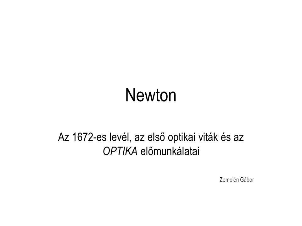 Az 1672-es levél, az első optikai viták és az OPTIKA előmunkálatai