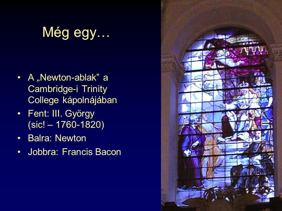 """Még egy… A """"Newton-ablak a Cambridge-i Trinity College kápolnájában"""
