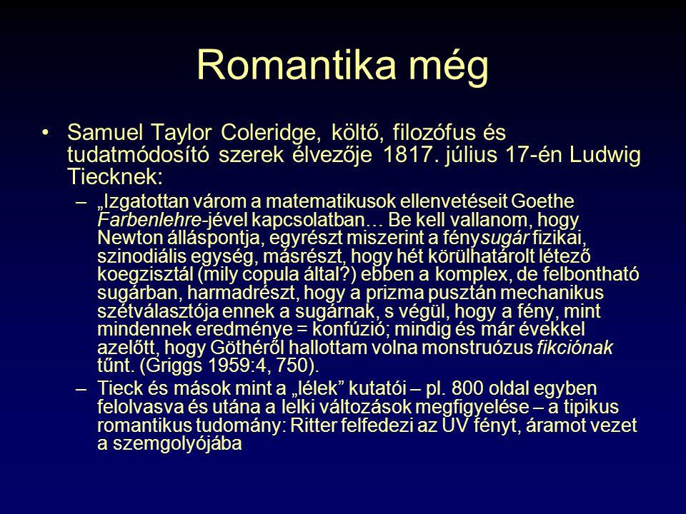 Romantika még Samuel Taylor Coleridge, költő, filozófus és tudatmódosító szerek élvezője 1817. július 17-én Ludwig Tiecknek: