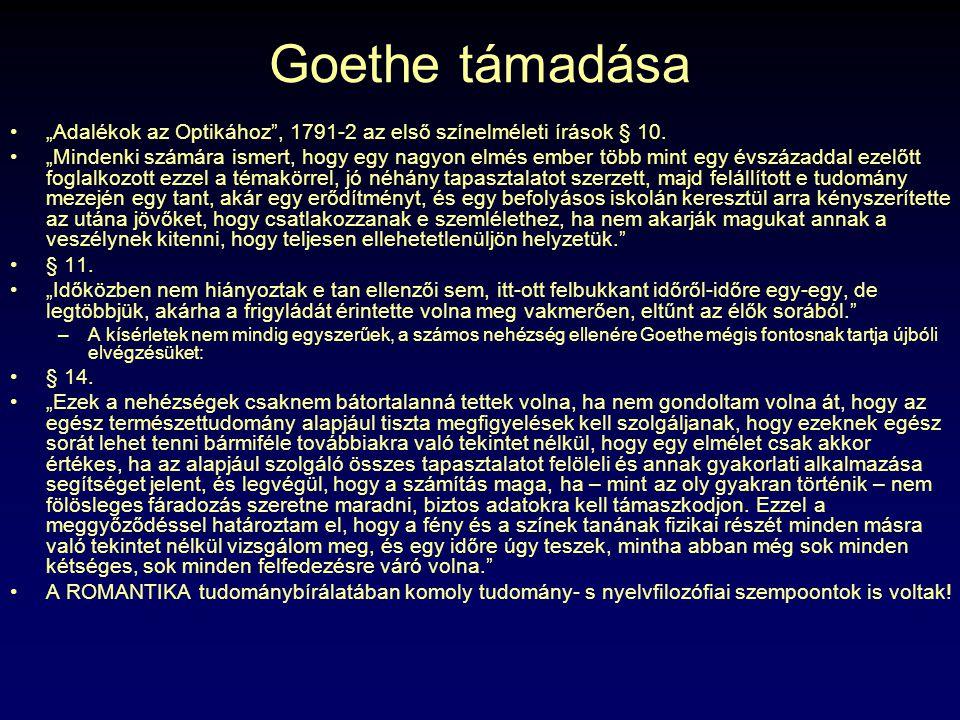 """Goethe támadása """"Adalékok az Optikához , 1791-2 az első színelméleti írások § 10."""