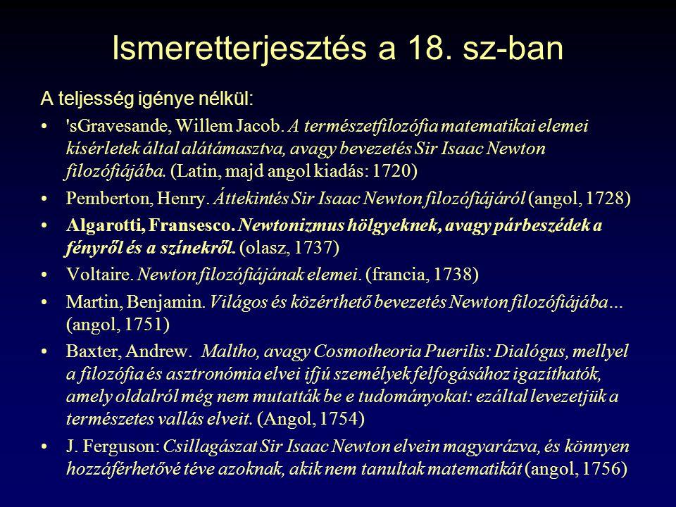 Ismeretterjesztés a 18. sz-ban