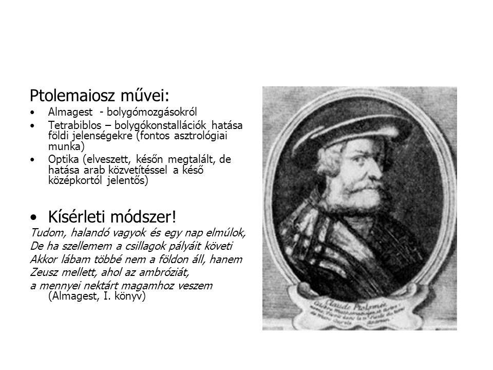 Ptolemaiosz művei: Kísérleti módszer! Almagest - bolygómozgásokról