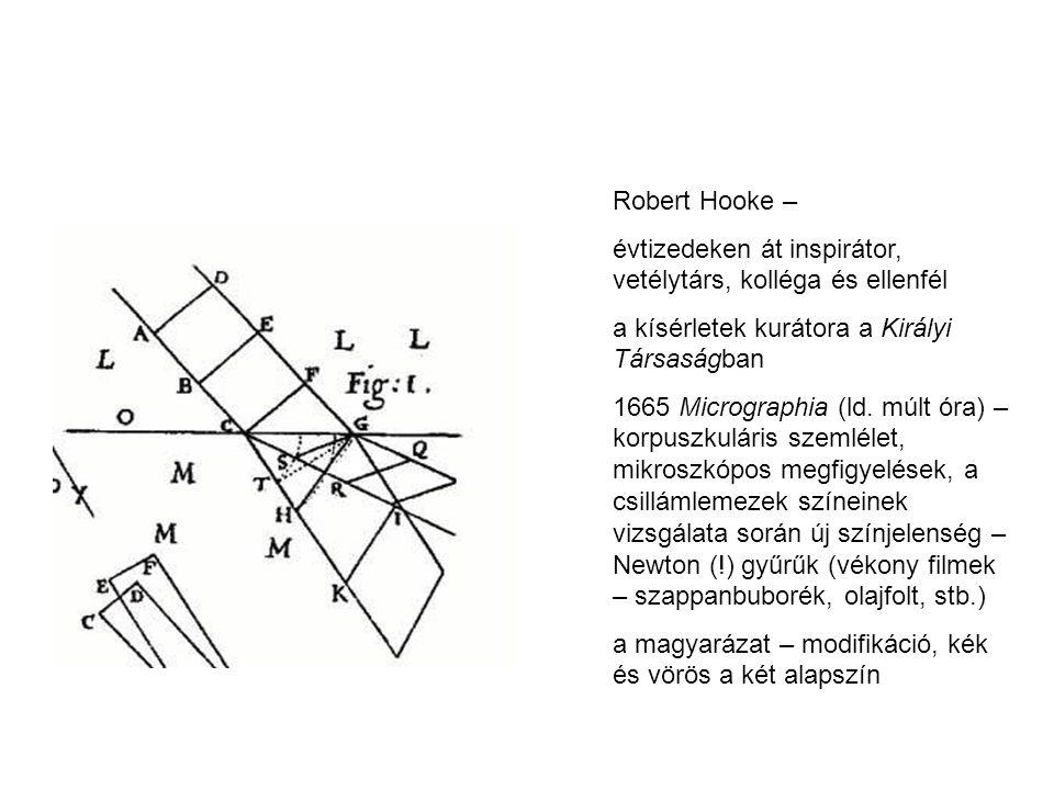 Robert Hooke – évtizedeken át inspirátor, vetélytárs, kolléga és ellenfél. a kísérletek kurátora a Királyi Társaságban.