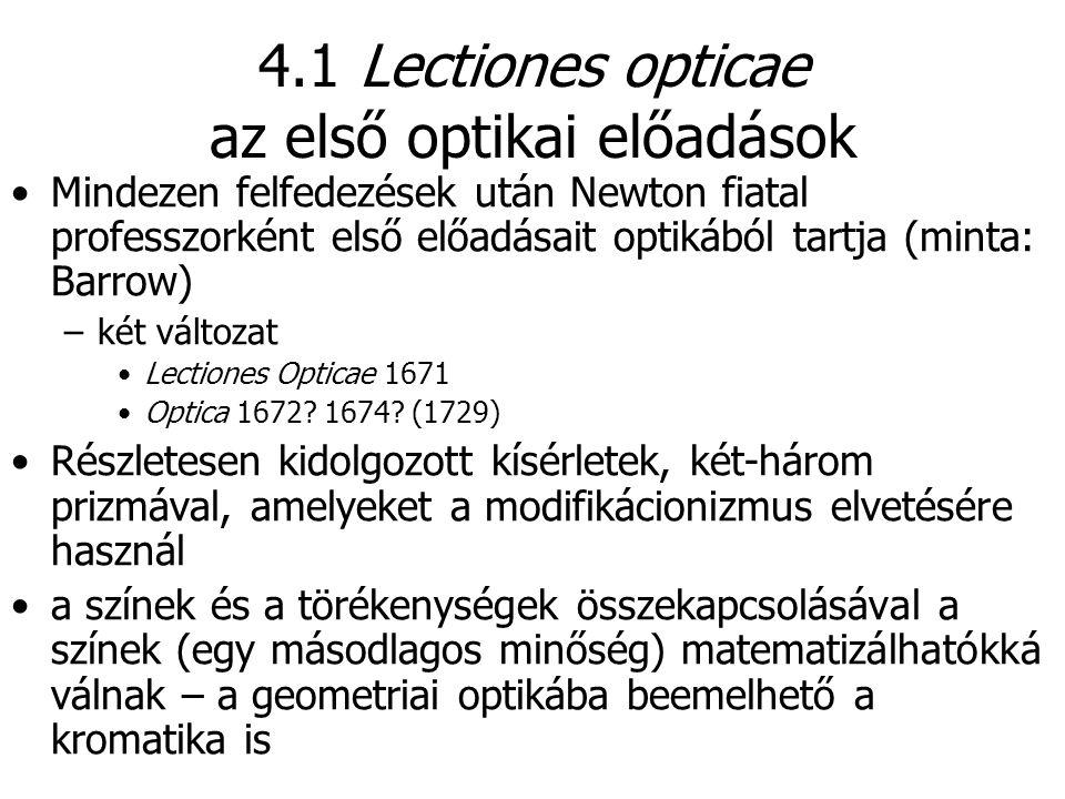 4.1 Lectiones opticae az első optikai előadások