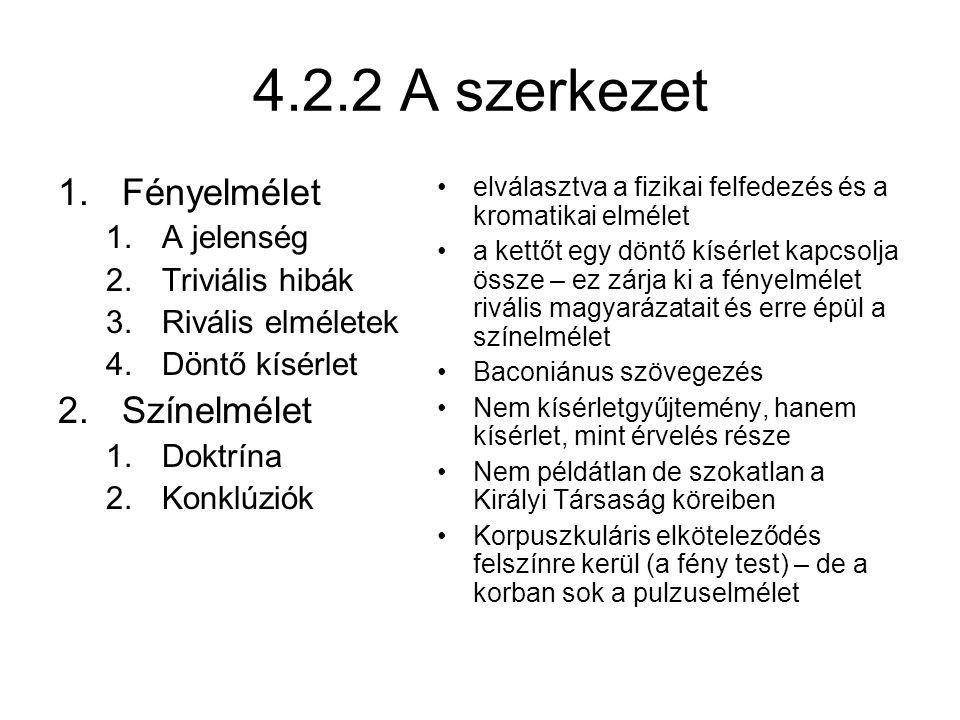 4.2.2 A szerkezet Fényelmélet Színelmélet A jelenség Triviális hibák