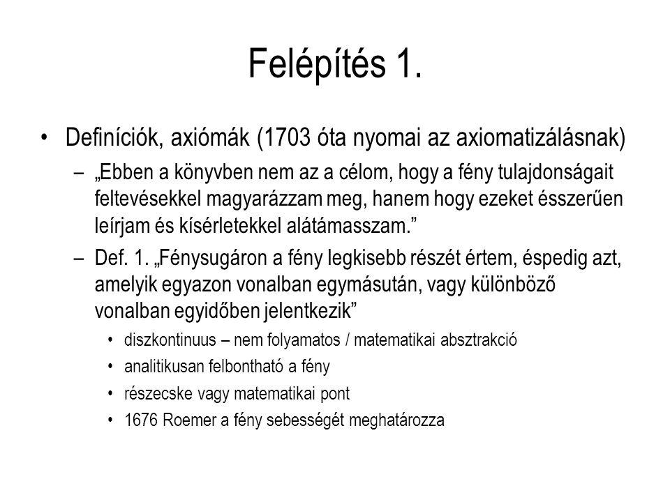 Felépítés 1. Definíciók, axiómák (1703 óta nyomai az axiomatizálásnak)
