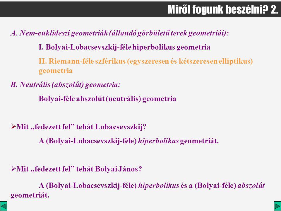 Miről fogunk beszélni 2. A. Nem-euklideszi geometriák (állandó görbületű terek geometriái): I. Bolyai-Lobacsevszkij-féle hiperbolikus geometria.