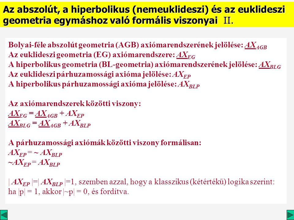 Az abszolút, a hiperbolikus (nemeuklideszi) és az euklideszi geometria egymáshoz való formális viszonyai II.