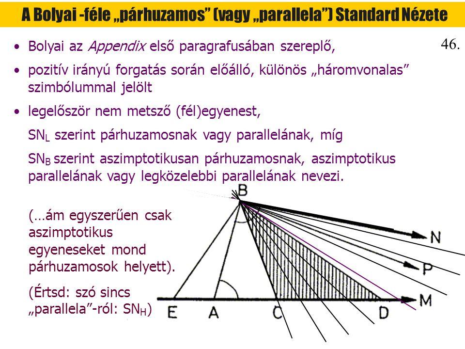 """A Bolyai -féle """"párhuzamos (vagy """"parallela ) Standard Nézete"""