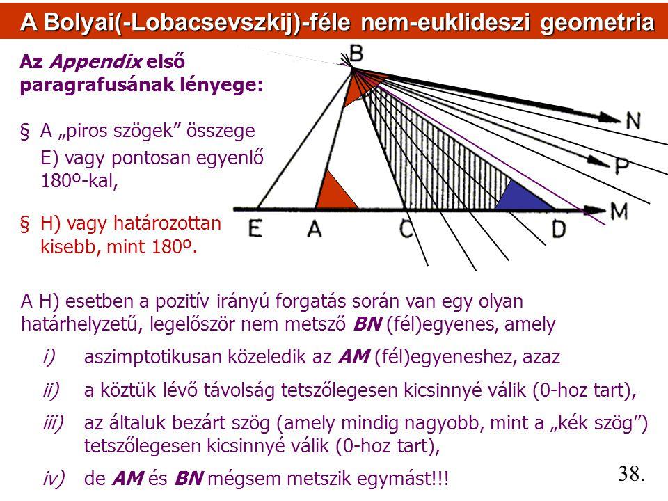 A Bolyai(-Lobacsevszkij)-féle nem-euklideszi geometria