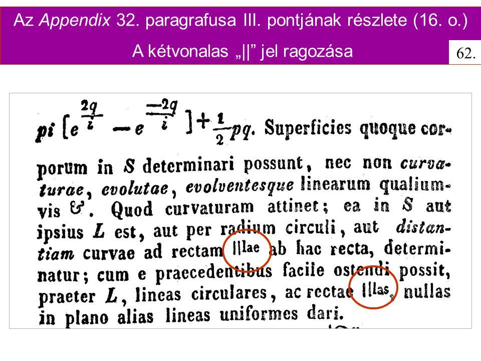 Az Appendix 32. paragrafusa III. pontjának részlete (16. o.)