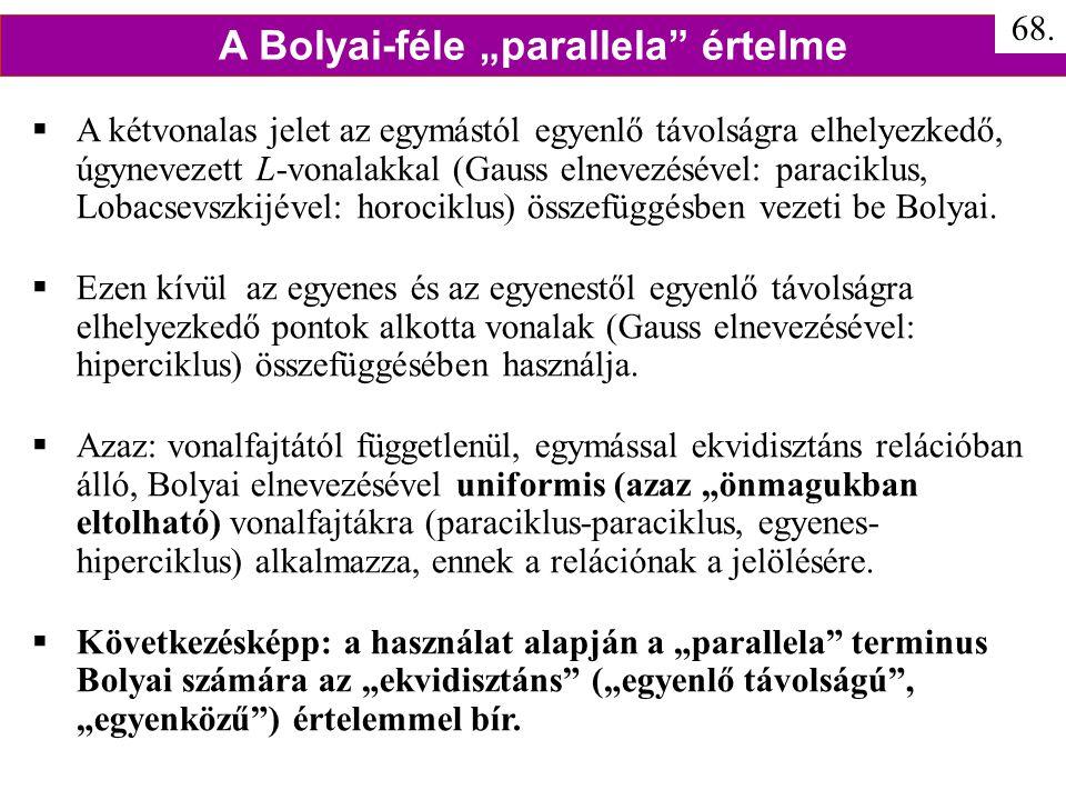 """A Bolyai-féle """"parallela értelme"""