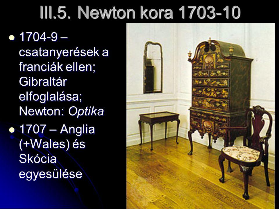 III.5. Newton kora 1703-10 1704-9 – csatanyerések a franciák ellen; Gibraltár elfoglalása; Newton: Optika.