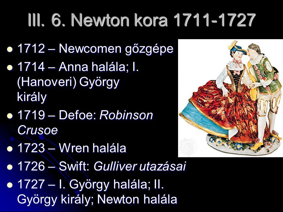 III. 6. Newton kora 1711-1727 1712 – Newcomen gőzgépe