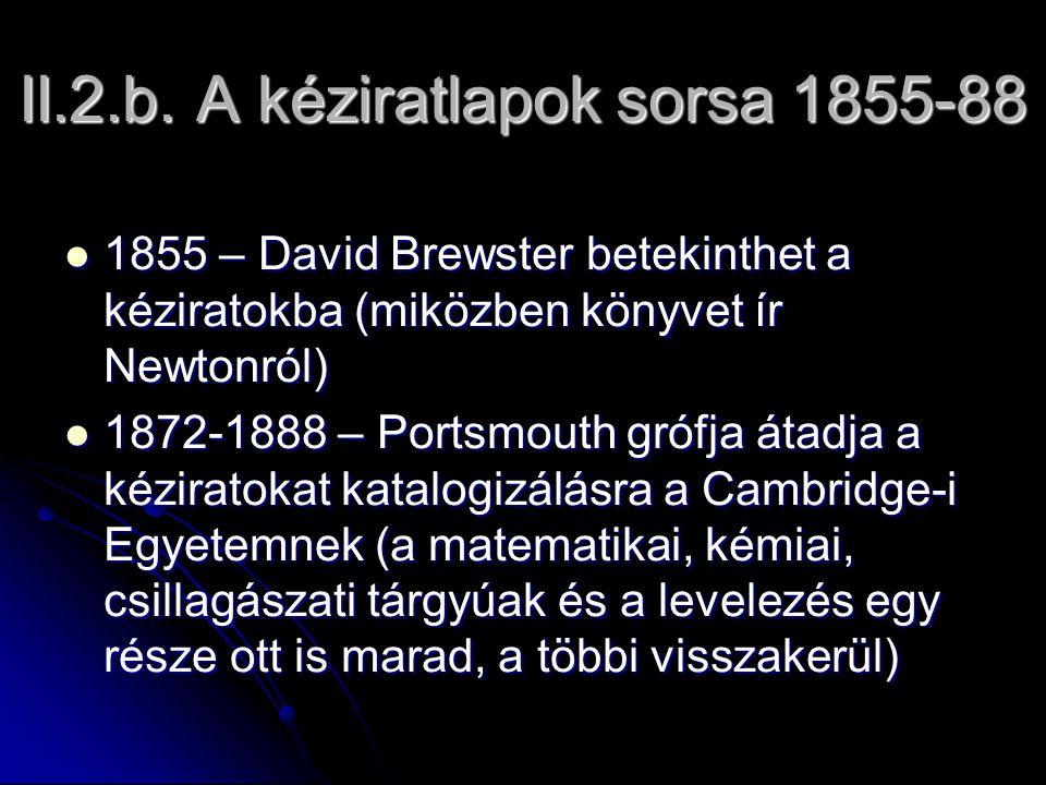 II.2.b. A kéziratlapok sorsa 1855-88