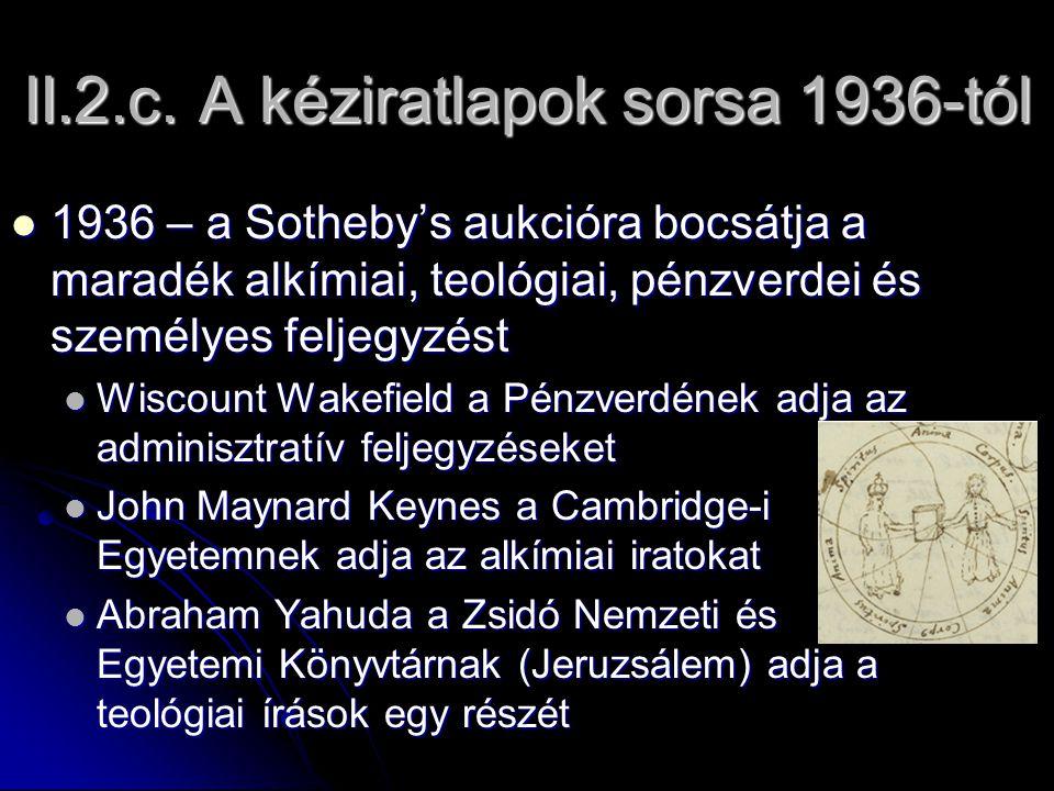 II.2.c. A kéziratlapok sorsa 1936-tól