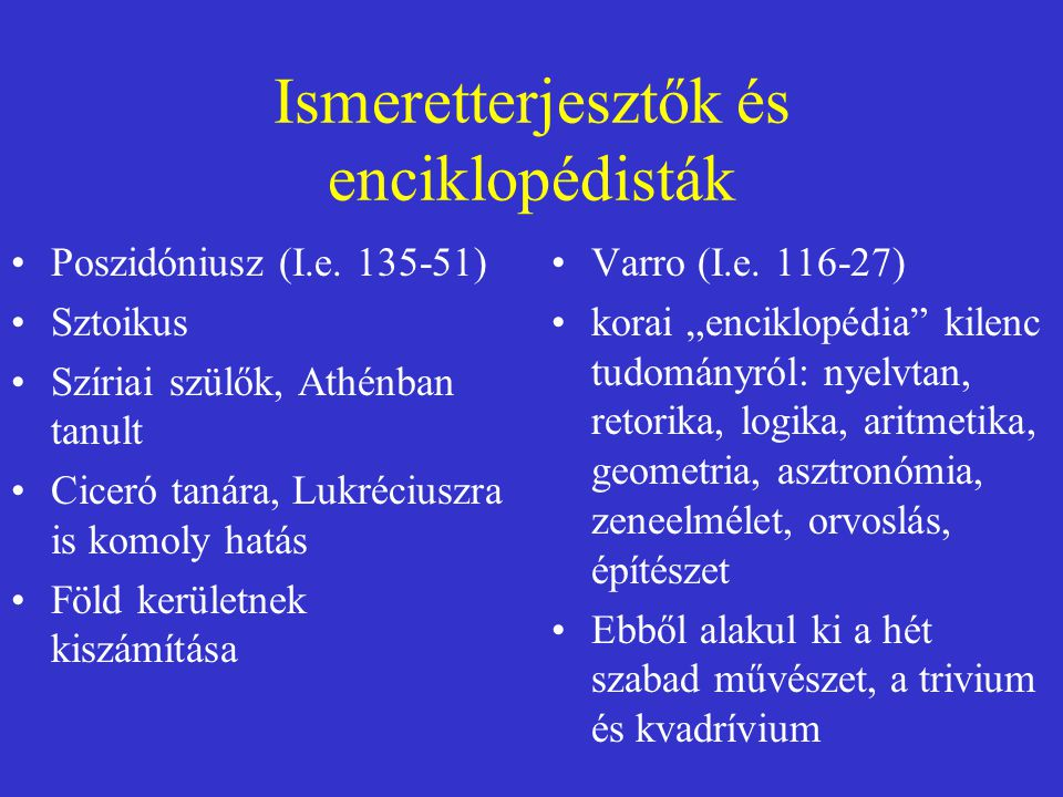 Ismeretterjesztők és enciklopédisták
