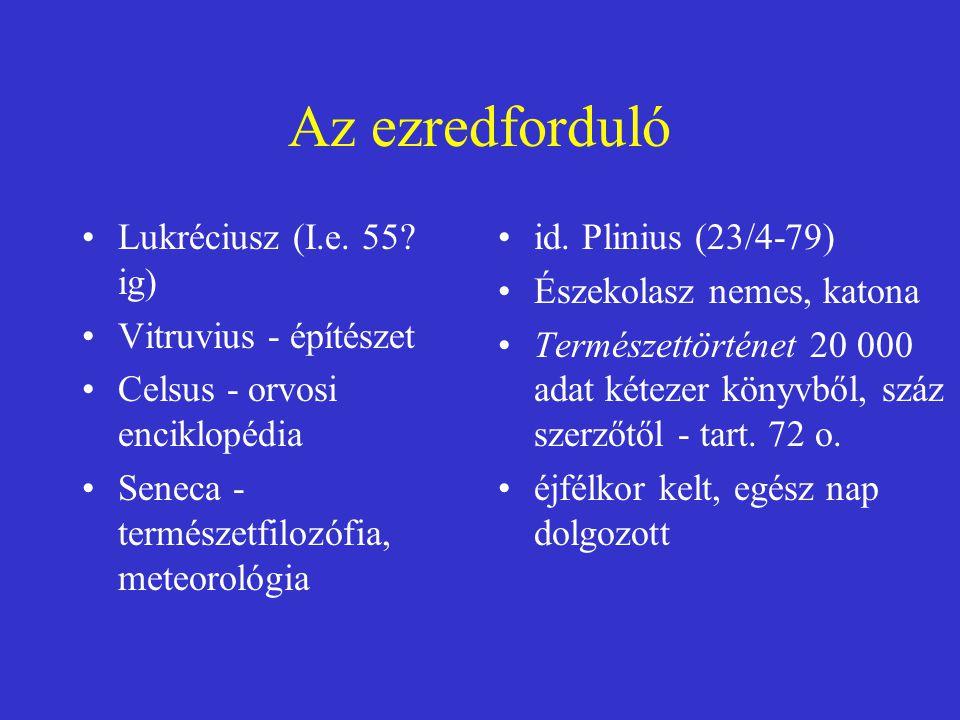 Az ezredforduló Lukréciusz (I.e. 55 ig) Vitruvius - építészet
