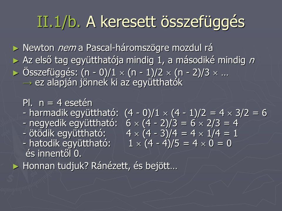II.1/b. A keresett összefüggés