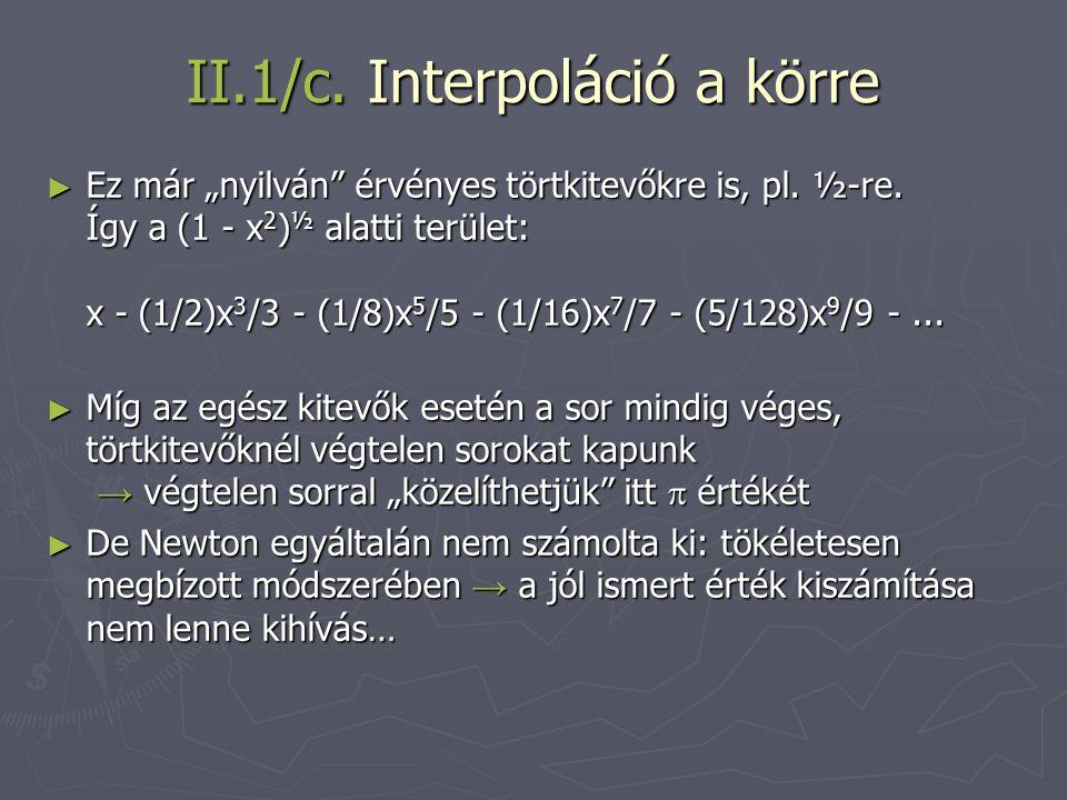 II.1/c. Interpoláció a körre