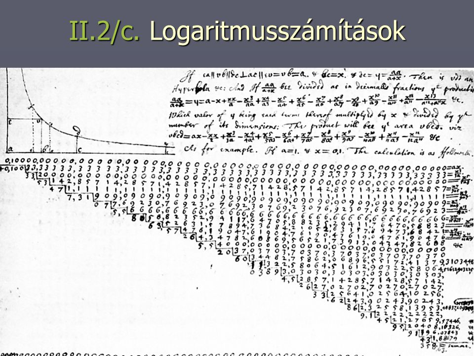 II.2/c. Logaritmusszámítások