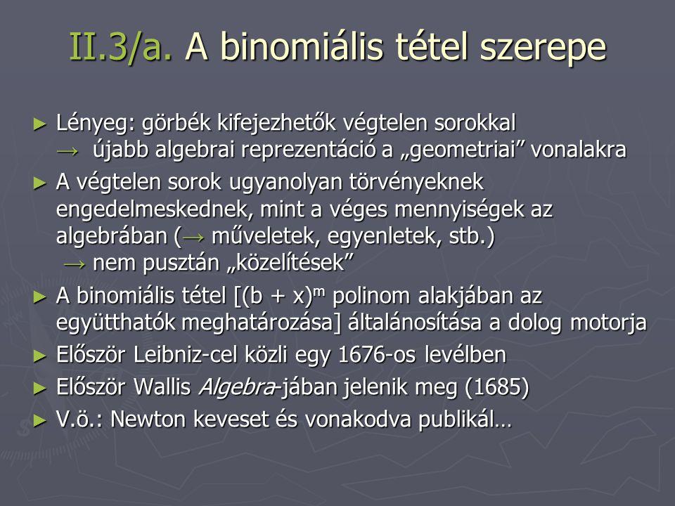 II.3/a. A binomiális tétel szerepe