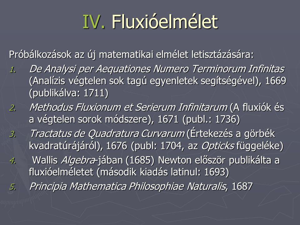 IV. Fluxióelmélet Próbálkozások az új matematikai elmélet letisztázására: