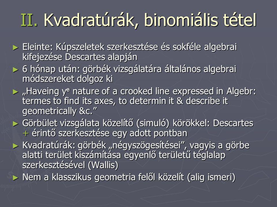 II. Kvadratúrák, binomiális tétel