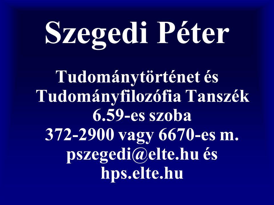 Szegedi Péter Tudománytörténet és Tudományfilozófia Tanszék 6.59-es szoba 372-2900 vagy 6670-es m.