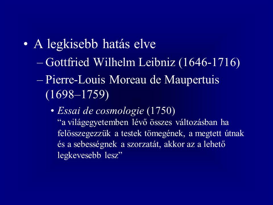 A legkisebb hatás elve Gottfried Wilhelm Leibniz (1646-1716)