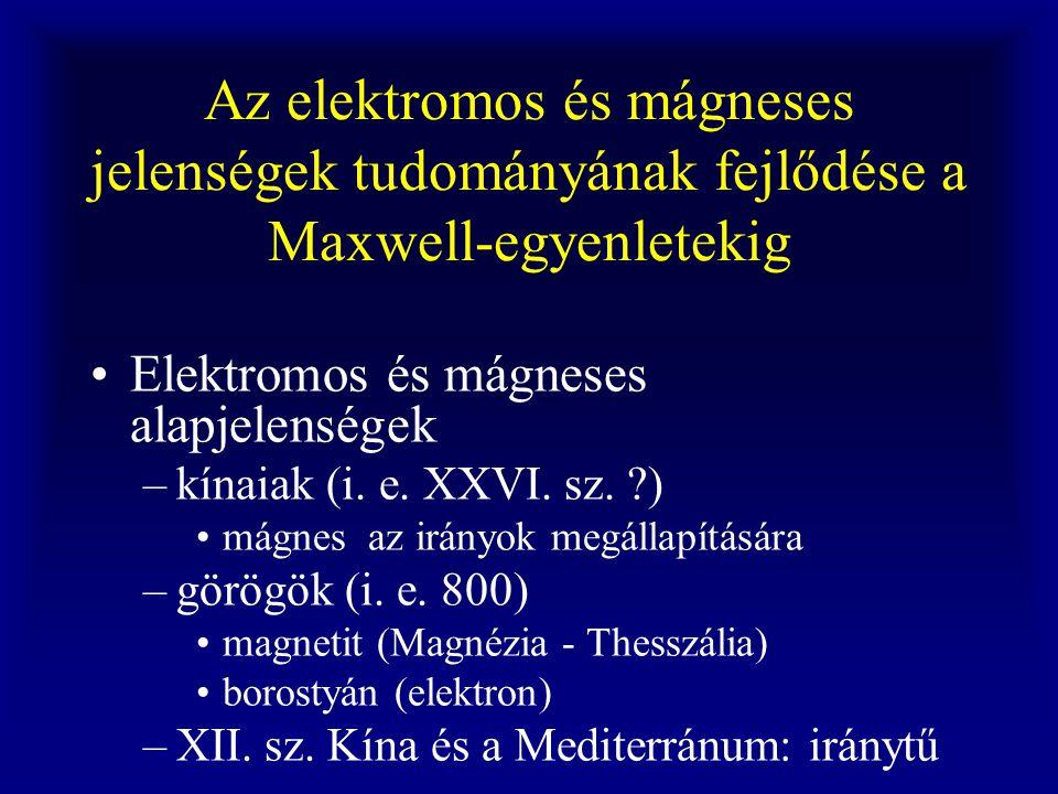Az elektromos és mágneses jelenségek tudományának fejlődése a Maxwell-egyenletekig