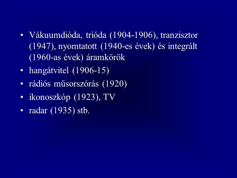 Vákuumdióda, trióda (1904-1906), tranzisztor (1947), nyomtatott (1940-es évek) és integrált (1960-as évek) áramkörök