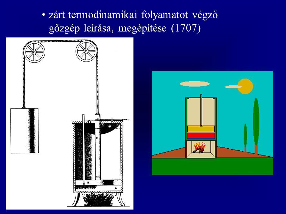 zárt termodinamikai folyamatot végző gőzgép leírása, megépítése (1707)