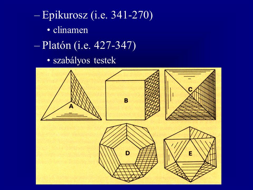 Epikurosz (i.e. 341-270) Platón (i.e. 427-347) clinamen