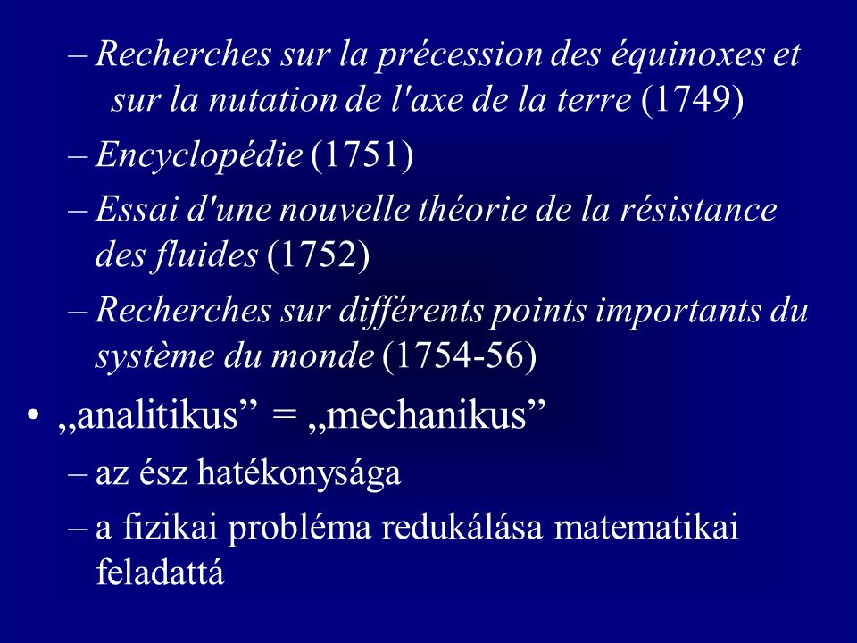 """analitikus = ""mechanikus"