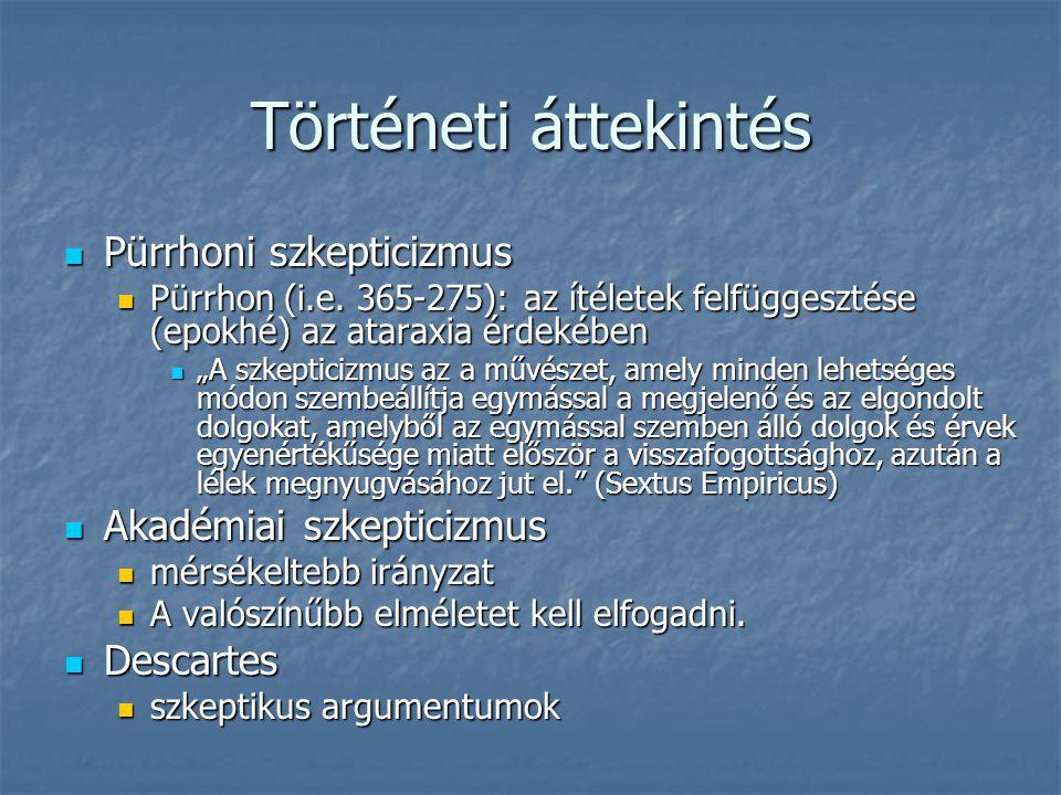 Történeti áttekintés Pürrhoni szkepticizmus Akadémiai szkepticizmus