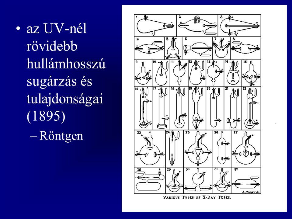 az UV-nél rövidebb hullámhosszú sugárzás és tulajdonságai (1895)
