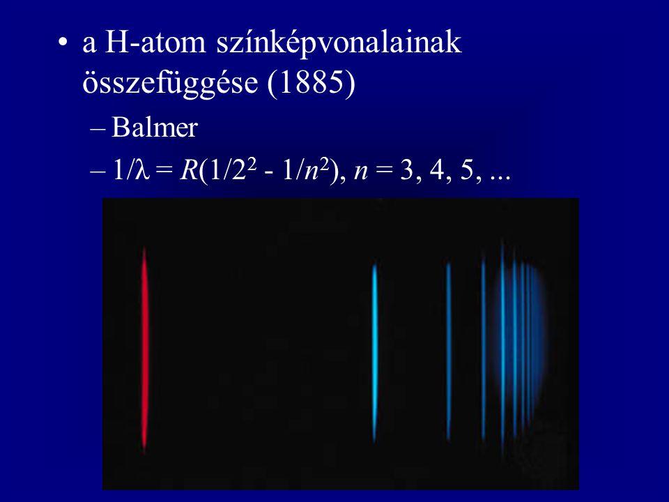 a H-atom színképvonalainak összefüggése (1885)