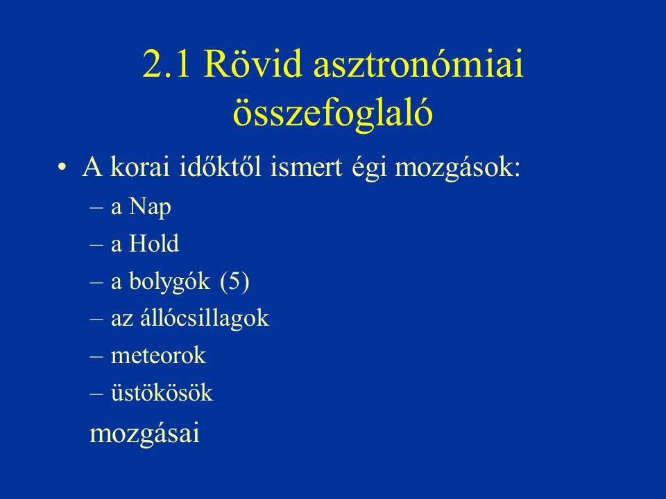 2.1 Rövid asztronómiai összefoglaló