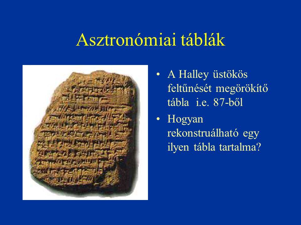 Asztronómiai táblák A Halley üstökös feltűnését megörökítő tábla i.e.
